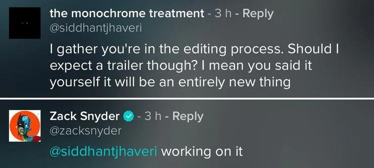 Zack Snyder respondendo sobre o trailer a um fã no Vero